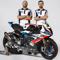 Eugene Laverty & Tom Sykes present the new look BMW S 1000 RR at EICMA
